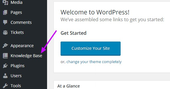 WordPress Help Desk knowledge base link