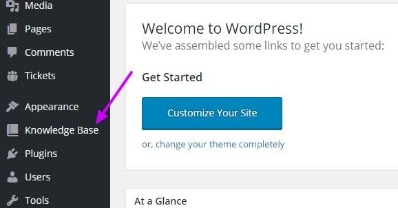 WordPress Help Desk knowledge base link
