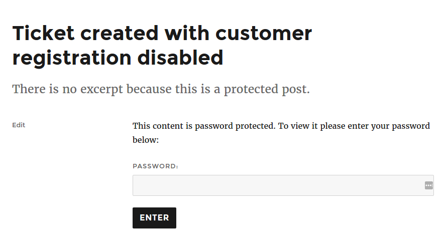 WordPress helpdesk password protected post