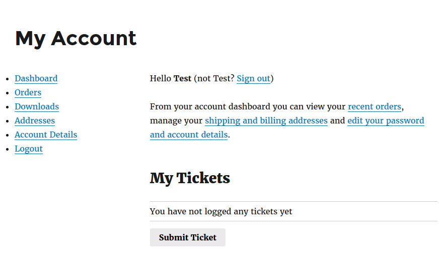 WooCommerce 'My Account' page