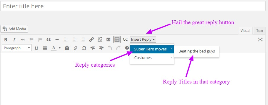 Insert a WordPress help desk reply